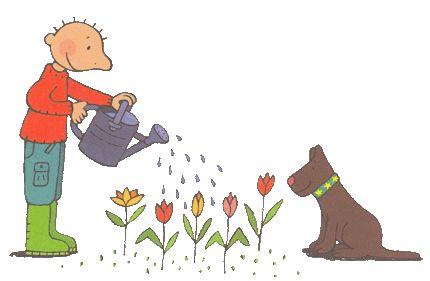 Thema lente : Jules geeft de bloemen water