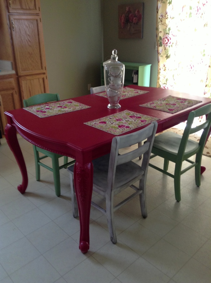 Kitchen Table With Vera Bradley Placemats And Teacups In The Apothecary  Jar. Shabby Chic.