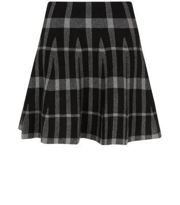 Teens Black Check Jacquard Knitted Skater Skirt