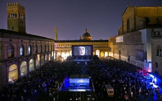 Movies on the Piazza in Bologna Italy.