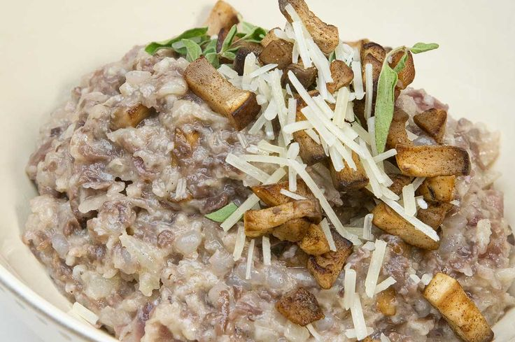 Risotto is an Italian rice dish, made with thick, short grain and starchy grains of rice. It takes