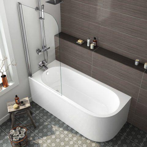 1700mm Corner Shower Bath & Screen (Includes Panels) - Left Hand