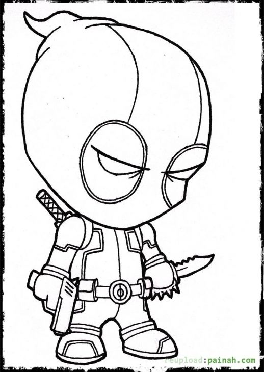 deadpool cartoon coloring page