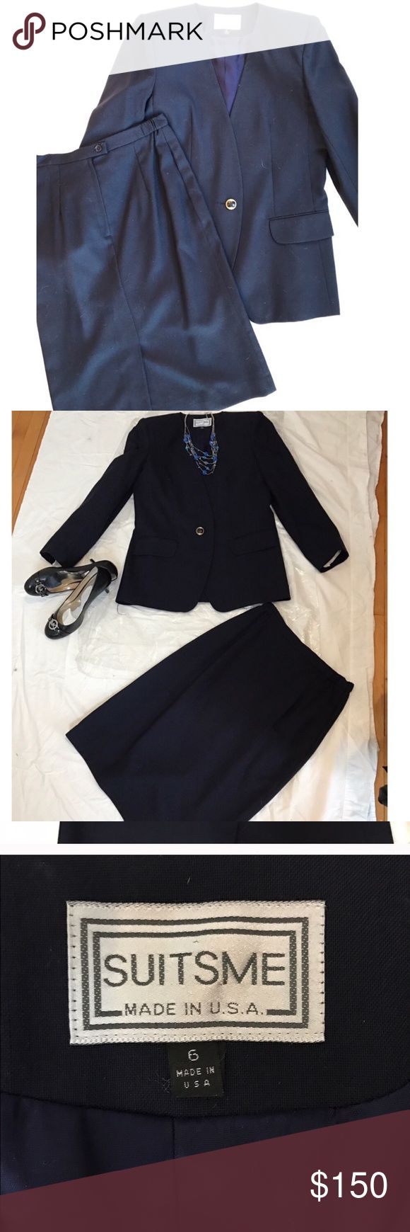 """Gorgeous vintage suit jacket and skirt set Real vintage gorgeous navy blue suit jacket and skirt set. In absolutely flawless condition. No signs of any wear, practically new- as new as something truly vintage can be. I just had the set dry cleaned and they will come still in the plastic wrapping and the hangers from the dry cleaner. Jacket has one button in the front and is complete with shoulder pads. The skirt zips in the back and is then secured with one button. Size 6. Skirt waist is 14""""…"""