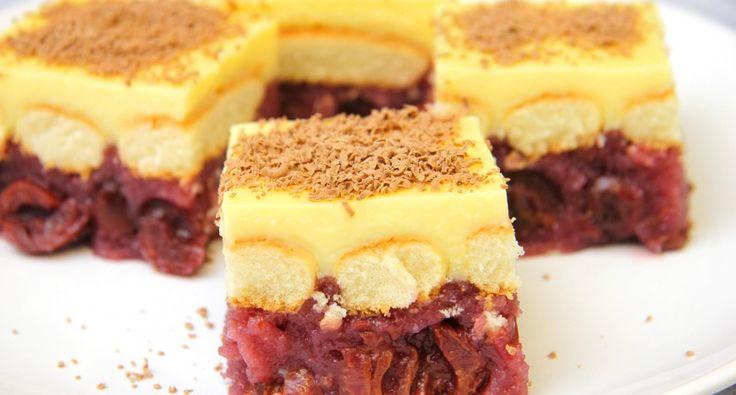 Meggyes vaníliapudingos süti recept: Egy meggyes vaníliapudingos süti recept, amiért mindenki meg fog őrülni olyan finom! Extra házias, extra finom, és még sütni sem kell! Próbáld ki Te is! A recept 1 db 30*24 cm-es tepsire szól, ami 4x6, azaz 24 tisztességes szeletet ad ki.