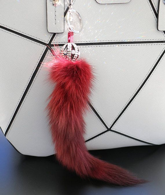 Fur Fox Tail Key Chain and Purse Accessory Red Wine Fox Tail