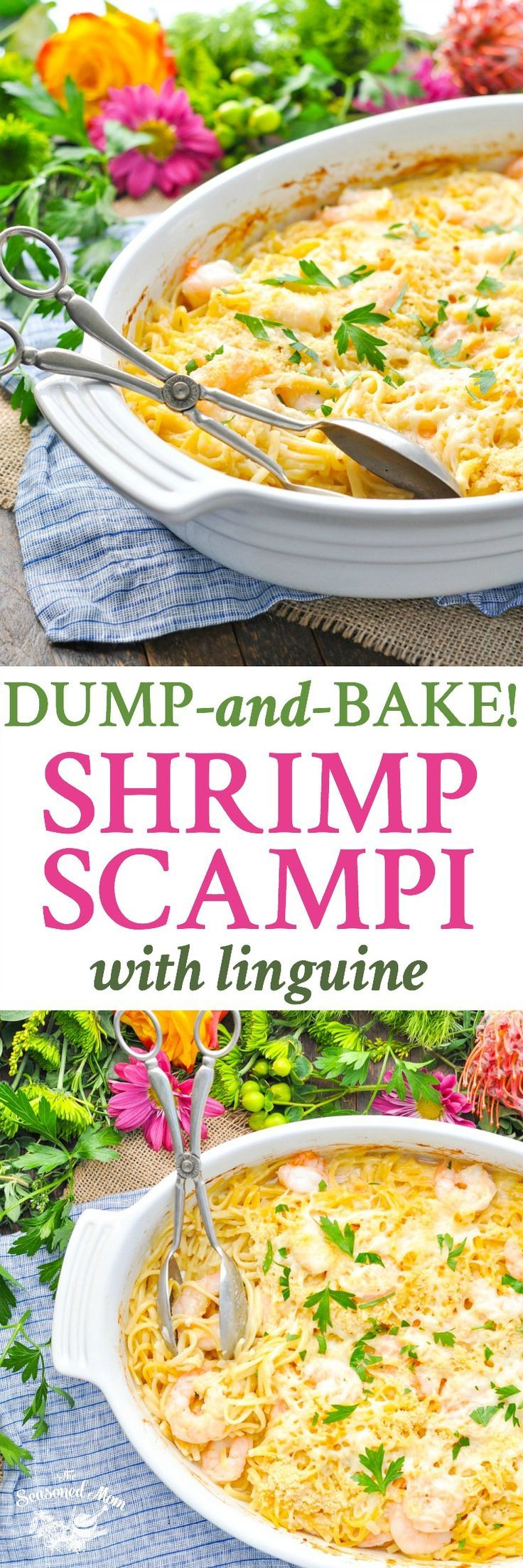You don't have to boil the pasta or pre-cook the shrimp for this quick, easy, and delicious Dump-and-Bake Shrimp Scampi with Linguine! Easy Dinner Recipes | Shrimp Recipes | Pasta Recipes | Seafood Recipes #seafood #shrimp #pasta #dinner