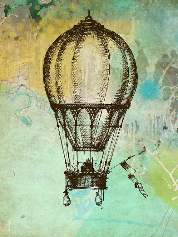 "Art illustration giclee watercolor print painting Hot Air Balloon, home wall decor 8,5"" x 11"""