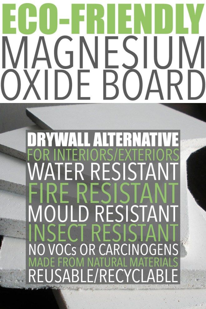 Eco Friendly Drywall Alternative | Magnesium oxide board is an eco-friendly drywall alternative made with naturally-occurring materials using an environmentally friendly process. Visit http://ofhousesandtrees.com for posts on architecture, interior design, DIY projects, sustainability, crafts, gardening, home decor and healthy eating.