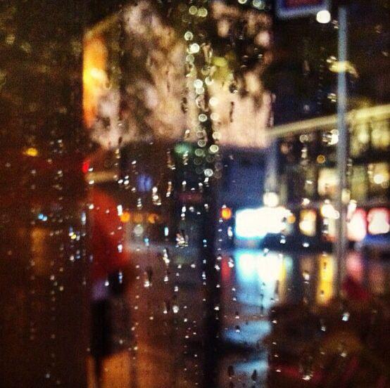 Raindrops on windowpane during a Manhattan downpour
