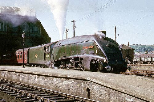 LNER class A4 4-6-2 no. 60034 'Lord Faringdon' arriving on the 8.25am Glasgow - Aberdeen express passenger train. 19th July 1966