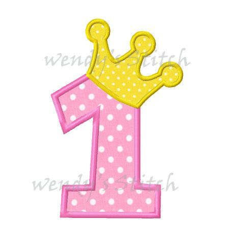 Princess birthday number 1 applique machine embroidery for Appliques exterieures design