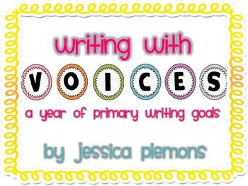 Writing VOICES Bulletin Board Headers and 50+ Writing goals to focus your instruction on each of the 6 traits  These cards are used in a similar manner to CAFE goal strategy cards. They align with six trait writing and the CCSS for primary grades.