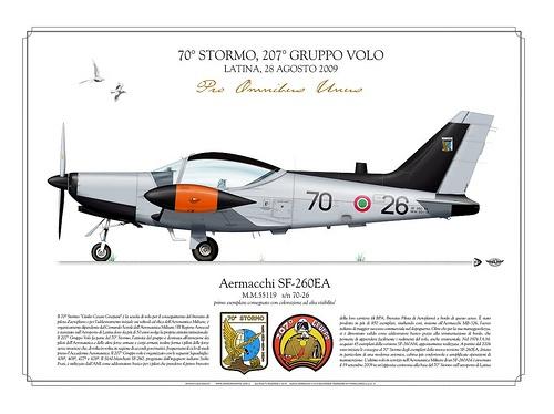 SF-260EA    ITALIAN AIR FORCE . AERONAUTICA MILITARE ITALIANA    Manufacturer: Aermacchi  Model: SF-260 EA  Serial s/n: M.M.55119  Tail Code: 70-26    70° STORMO, 207° GRUPPO VOLO  LATINA, 28 AGOSTO 2009  primo esemplare consegnato con colorazione ad alta visibilita'.