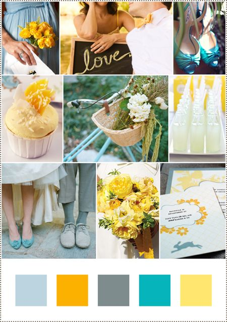 Although we're focusing more on a darker blue than the yellow, this is the basis of our beach wedding color scheme  Really like the teal and yellow