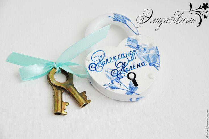 """Купить Замочек """"Голубые розы"""" - голубой, свадьба, свадебные аксессуары, аксессуары для свадьбы, Свадебный замочек"""