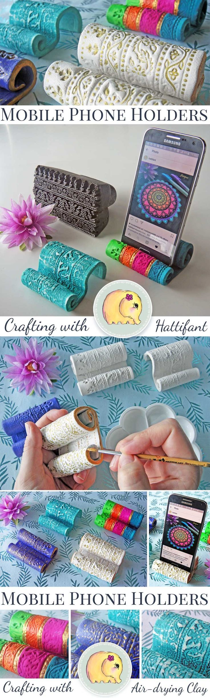 Hattifant's Tutorial for DIY Clay Mobile Phone & Cell Phone Holders. Coloring, Colouring, Crafting, kids craft, grown up craft, adult craft, decor, décor, DIY Home