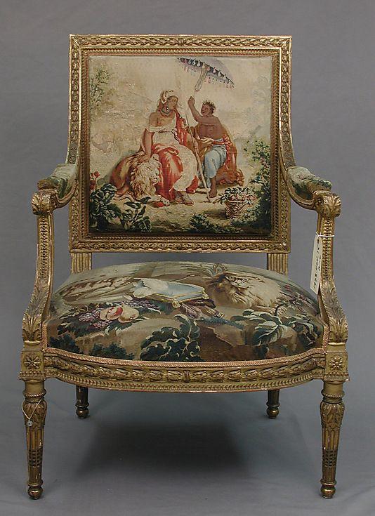 Armchair after a composition by Jean Jacques François Le Barbier (French, Rouen 1738–1826 Paris), commissioned for Louis XVI