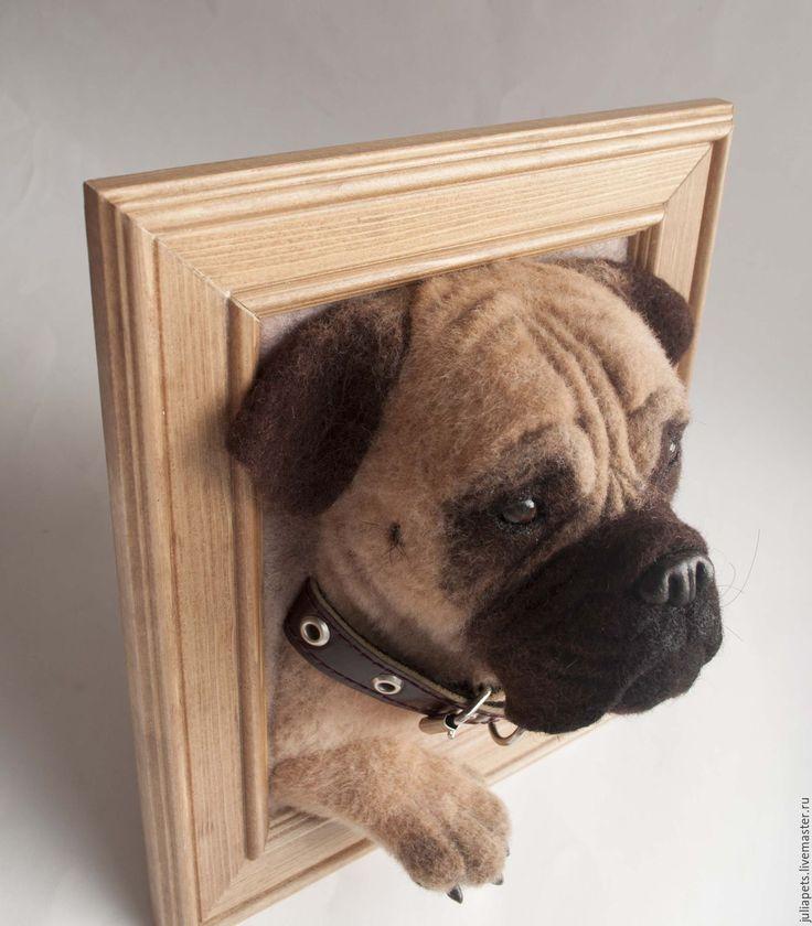 Купить Панно собаки бульмастиф - коричневый, панно в подарок, панно настенное, панно для интерьера, питомец