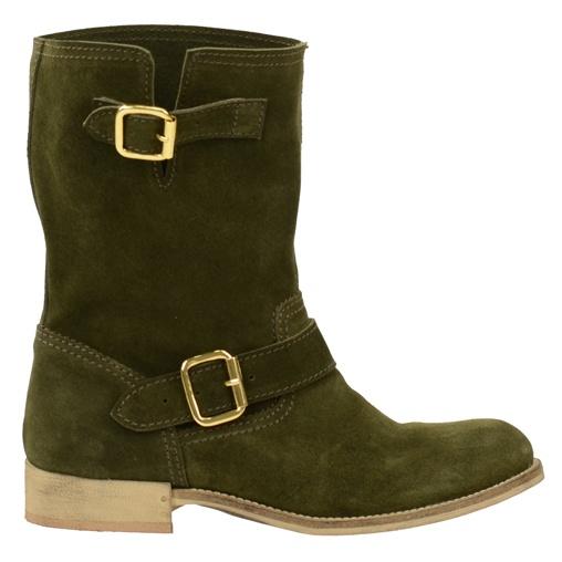 SACHA // Groene suède laarzen met gouden gesp  €99,95