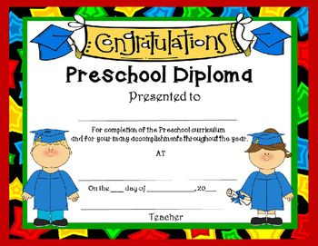 I hope you enjoy these free diplomas. Check out our EDITABLE Preschool Graduation Program!I have many years of experience putting on graduation programs with my preschoolers that fun for them and is sure to produce many smiles, tears and lots of compliments from families.