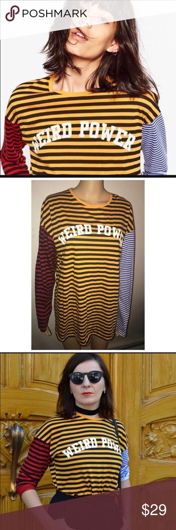"""NWT Zara """"Weird Power"""" Statement Shirt Brand new with tags super dope Zara Statement shirt. Long sleeve tee that says """"Weird Power"""" on the front. Striped all over and is super trendy and cute! Size large and would definitely work as a unisex shirt. Pair with jeans, a cute skirt, shorts or even a bikini bottom! Lol Like Manish (the CEO of Poshmark) says, """"We are all a little weird,"""" so own it with this top. Bundle and save!  ❤️❤️❤️ 🙌🏾 #weirdpower (Post office prev lost it in the storm so it…"""