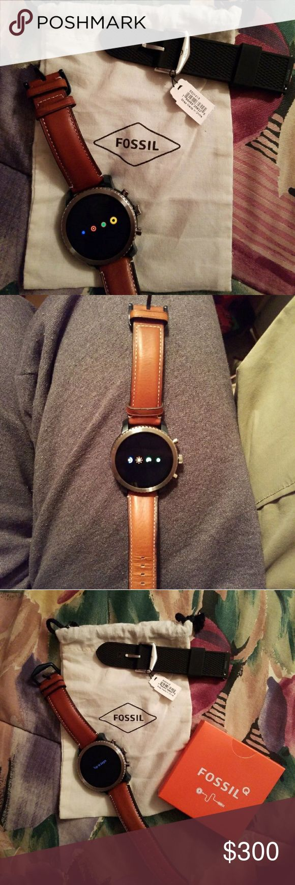 Fossil Q smartwatch Mens or Womens FossilQ smartwatch. Includes: watch face, 2 sets of wrist straps, and charger. IPhone and Android compatible. Only ever worn for the pictures.  New without tags. NEGOTIABLE!!! Fossil Accessories Watches