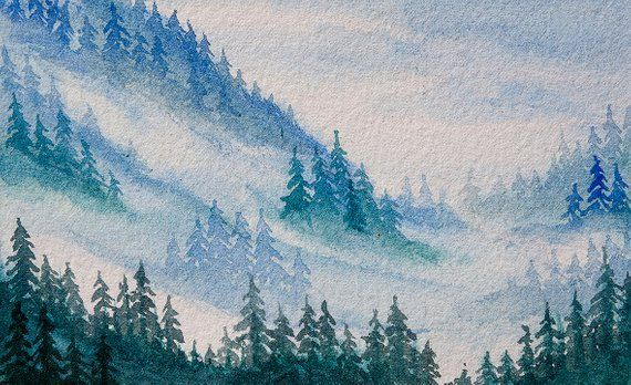 Misty Mountains Watercolor Misty Forest Painting Landscape