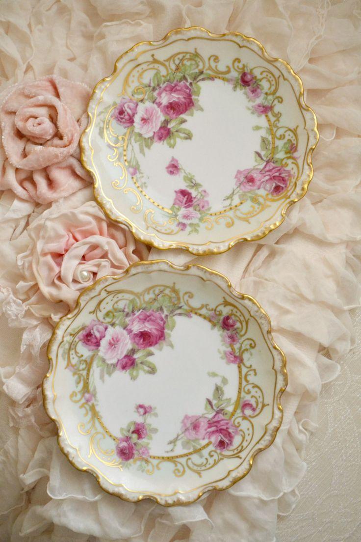 Antique Limoges Flambeau Porcelain Pair of Plates by Jenneliserose