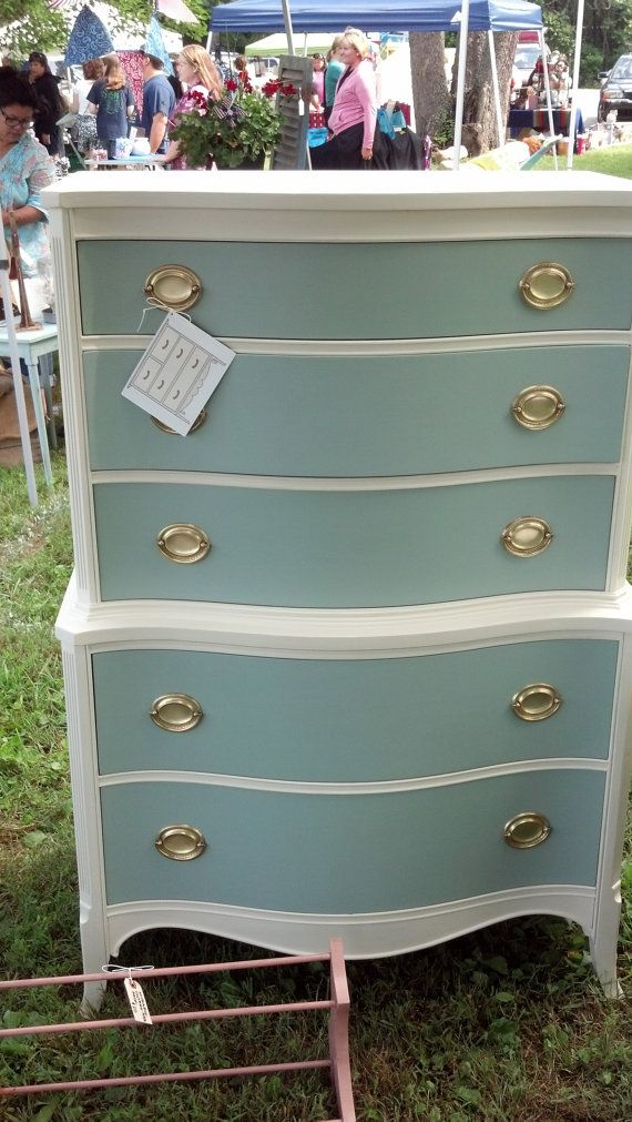 This lovely Chest of Drawers has been repainted and finished with great care. It has been painted using chalk paint and then a hand waxed finish. The inside of the drawers are in excellent condition for a piece of any age. The hardware is original to the piece and compliments the Duck Egg drawer color.    Dimensions:    51 H  35 W  20 D    THIS ITEM IS AVAILABLE FOR PICK-UP IN CATONSVILLE, MD. LOCAL DELIVERY FREE WITHIN 15 MILES OF 21228. DELIVERY AVAILABLE OUTSIDE THIS AREA FOR AN…