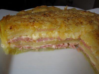 Tarta de patatas, jamón y queso
