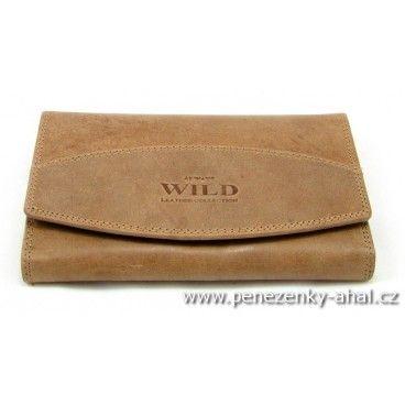 Hnědá peněženka dámská kožená z kvalitní jemné kůže.