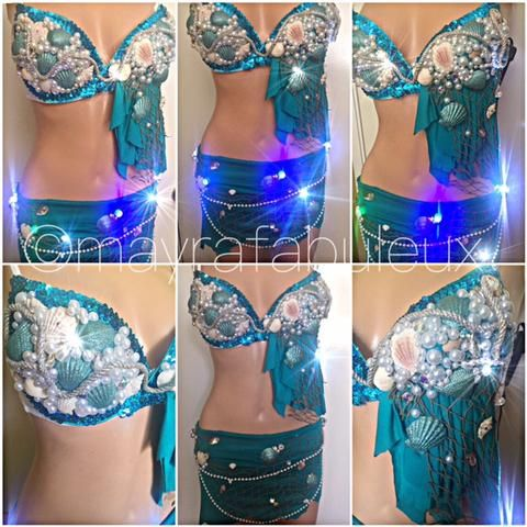 Light Up Blue Mermaid Rave Bra and Skirt Set, Complete Rave Outfit