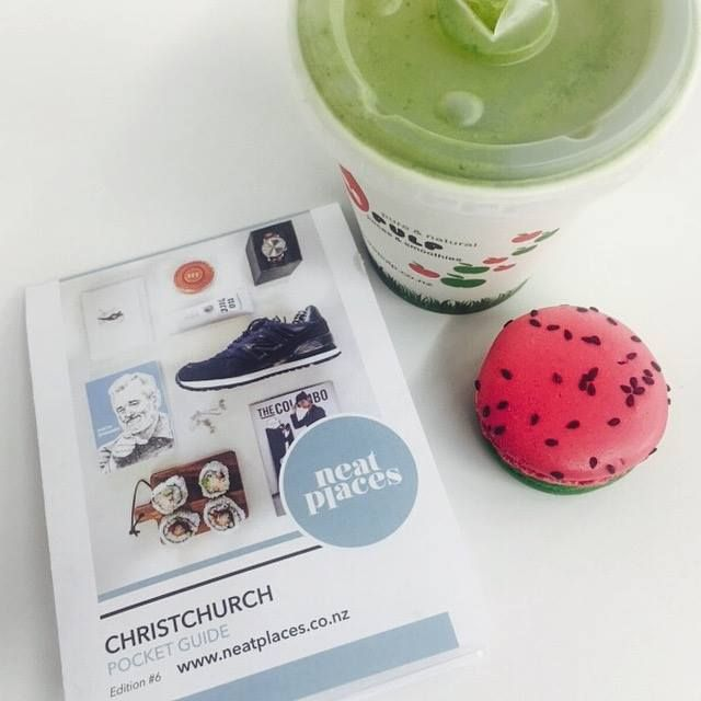 Pure pulps green smoothie matched with a Jaime Les Macaron watermelon macaron!