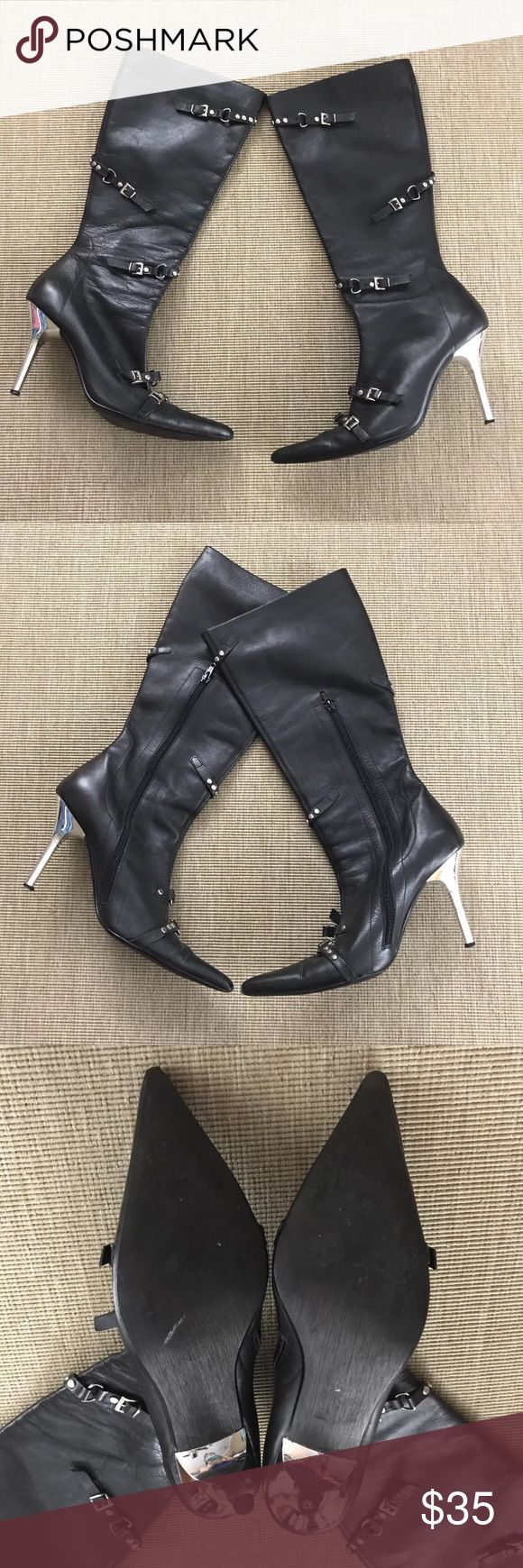 Steve Madden 10 M Black Boots Stiletto Buckles Steve Madden 10 M Black Boots Stiletto Buckles Silver Heels. Fantastic condition - worn once. Slight wear on toes (see photos). Steve Madden Shoes Heeled Boots