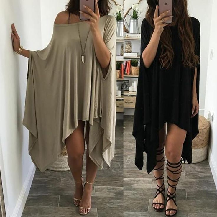 Irregular Off Shoulder Bat Sleeve Loose Casual Dress