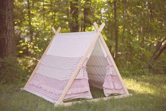 Children's AFrame Ruffle Tent cover by Teepee and by TeepeeandTent, $169.00