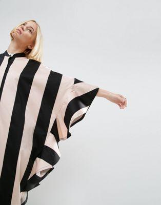 ASOS WHITE Oversized Stripe Shirt Dress With Frill Detail