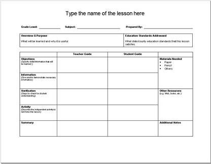14 best Lesson Plan Template images on Pinterest Lesson plan - plan templates in word