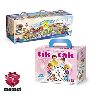 Zestaw 2 gier edukacyjnych MAXIM, którepomagają dziecku w formie zabawy zaznajomić się z pojęciem czasu.W skład zestawu wchodzi:-TIK TAK-ZEGAR W MOIM MIEŚCIEW ZESTAWIE MAXIM TANIEJ!