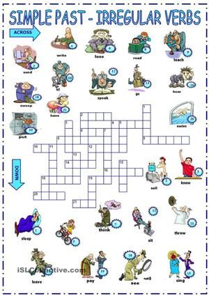 A picture crossword for revising the simple past. - ESL worksheets