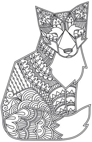 Doodle Fox Design Coloring Page Pages Colouring Adult Detailed
