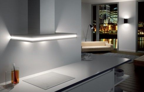 """Andromeda - Combine the sophistication of wood and glass into a rangehood and you have the """"Andromeda"""". Featuring sleek lighting all around, this rangehood will light up any contemporary kitchen. #designerrangehood #rangehood #design"""