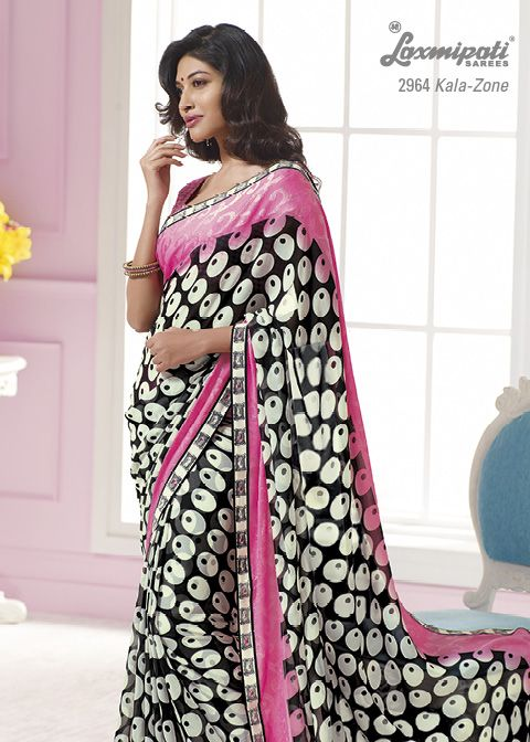 This off white, pink & black color georgette material saree with white color border .