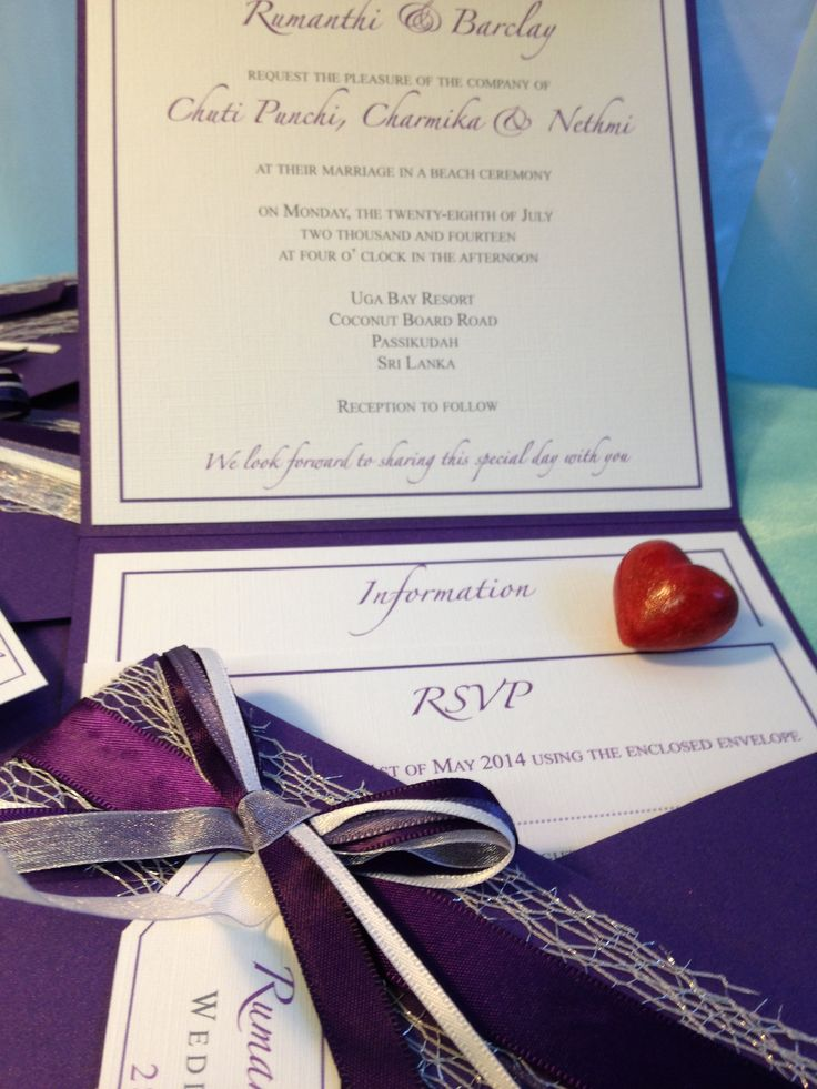 7 best Purple square wallet wedding invitation with inserts ...