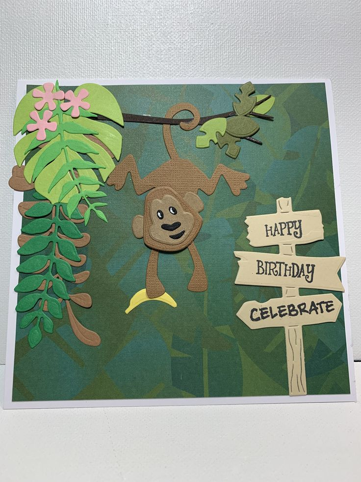 Happy Birthday card, Monkey In The Jungle card, Handmade