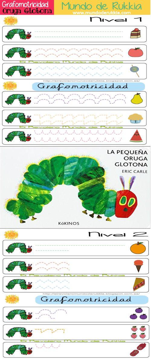 grafomotricidad, oruga glotona actividades, graphomotor, graphomotor skills, hungry caterpillar activities, actividades infantil, actividades primaria, fichas primara, fichas infantil, preescolar, recursos maestras, trazos, aprender a escribir
