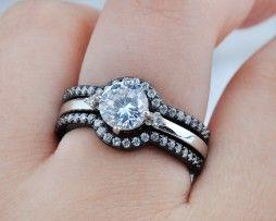 Luxusný rozoberateľný 3-dielny prsteň zo zliatiny tmavého zlata s diamantom