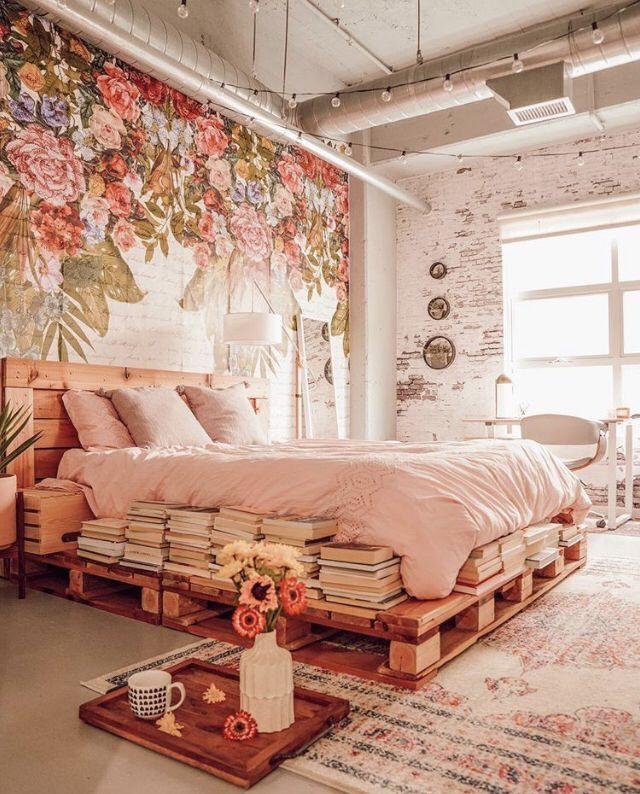 Floral Wallpaper Bedroom Decor Rustic Bedroom Decor Bookshelves In Bedroom White Cream And Pi Romantic Bedroom Decor Floral Bedroom Bookshelves In Bedroom