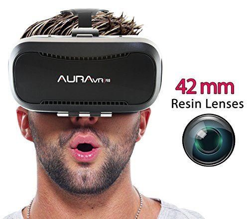 AuraVR PRO VR Headset Glasses/Virtual Reality Gear with 42mm lenses Individual Lens adjustment  110 degree FOV inspired by Google Cardboard Oculus Rift & Samsung Gear for Android & iOS phones